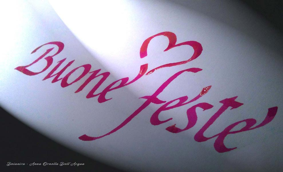 Deianira, calligrafia, cancelleresca, Buone feste