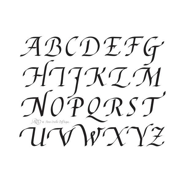 Deianira, calligrafia, cancelleresca, alfabeto maiuscolo