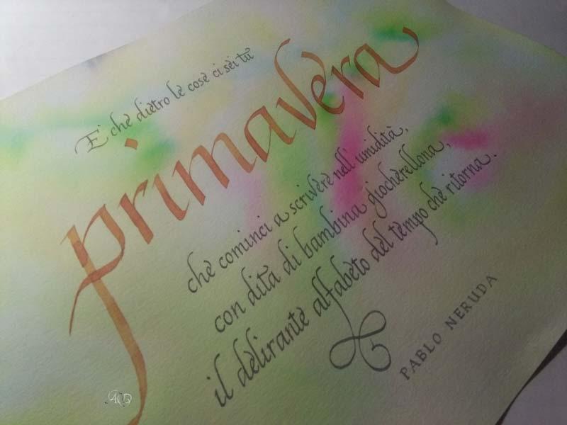 Deianira, calligrafia, cancelleresca, Primavera, Neruda