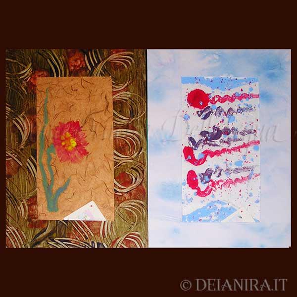 Passepartout realizzati con carte decorate a mano