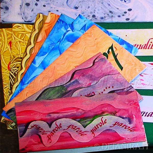 Cartoncini augurali realizzati a mano con carte decorate con la tecnica della carta-colla