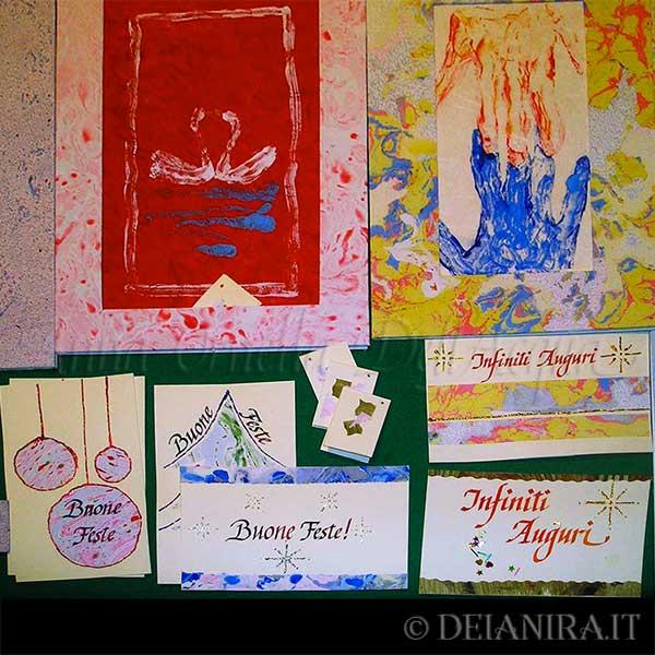 Passepartout e cartoncini augurali realizzati a mano con carte decorate (carta-colla e marmorizzate)