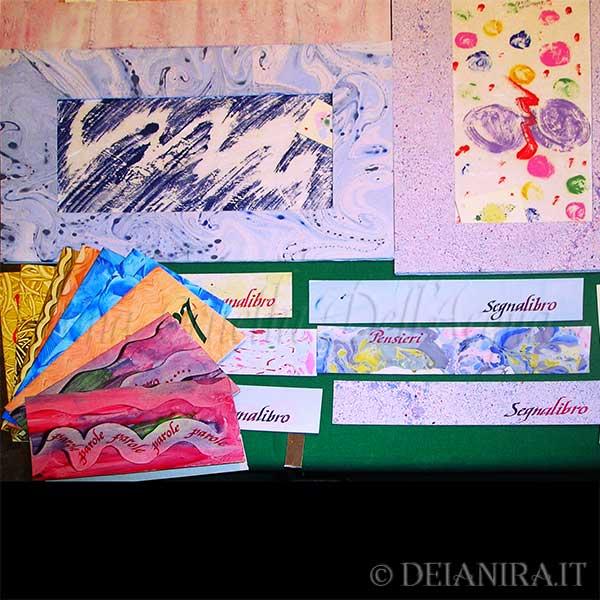 Deianira-Passepartout, segnalibri personalizzati e cartoncini augurali realizzati a mano con carte decorate (carta-colla e marmorizzate)