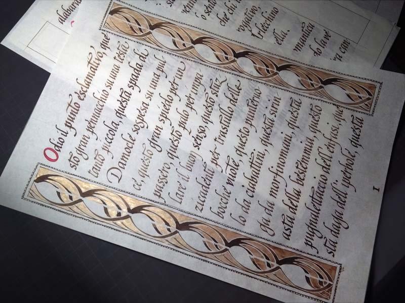 Composizione calligrafica con margini decorati