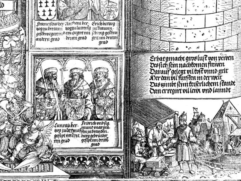 Dettaglio di scrittura Fraktur e immagini, Porta d'Onore, xilografia di Albrecht Dürer