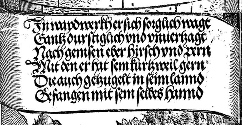 Dettaglio della scrittura Fraktur, Porta d'Onore, xilografia di Albrecht Dürer